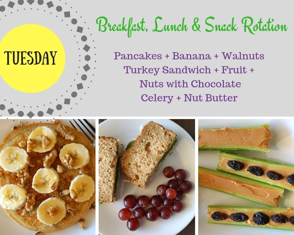 Breakfast, Lunch and Snack Rotation TUESDAY
