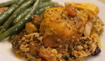 Slow Cooker Turmeric Chicken with Quinoa and Roasted Green Beans