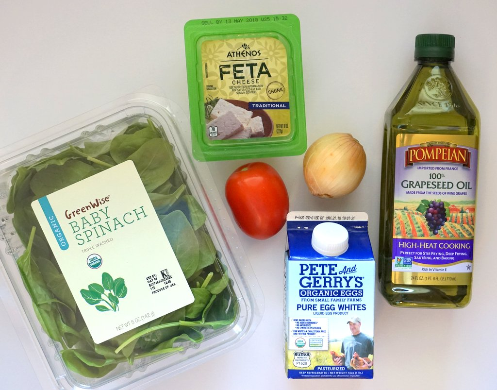 Egg White Frittata with Spinach, Tomato and Feta Ingredients