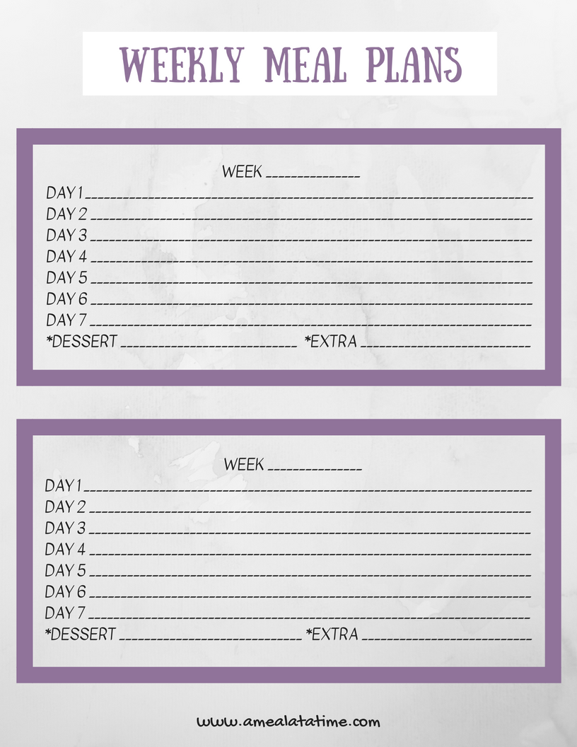 weekly meal planning template free printable
