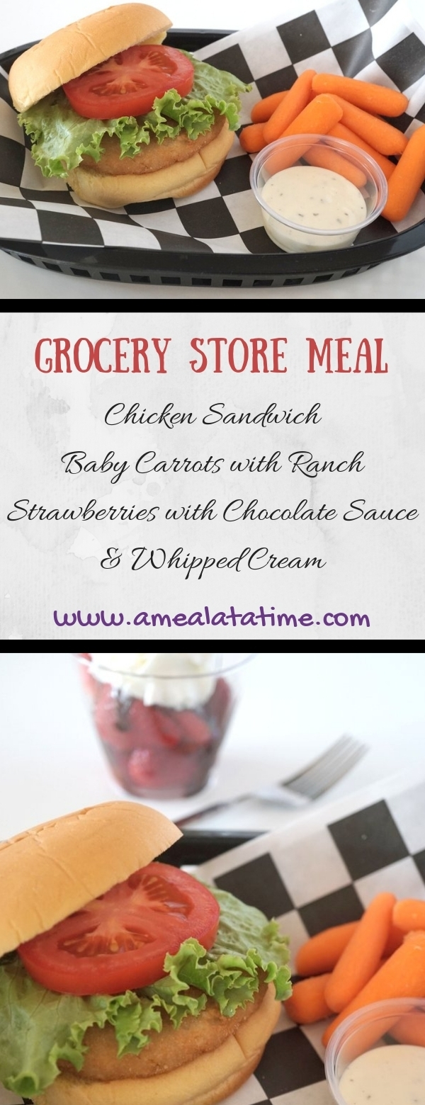 Grocery Store Meal Chicken Sandwich, Carrots, Simple Dessert