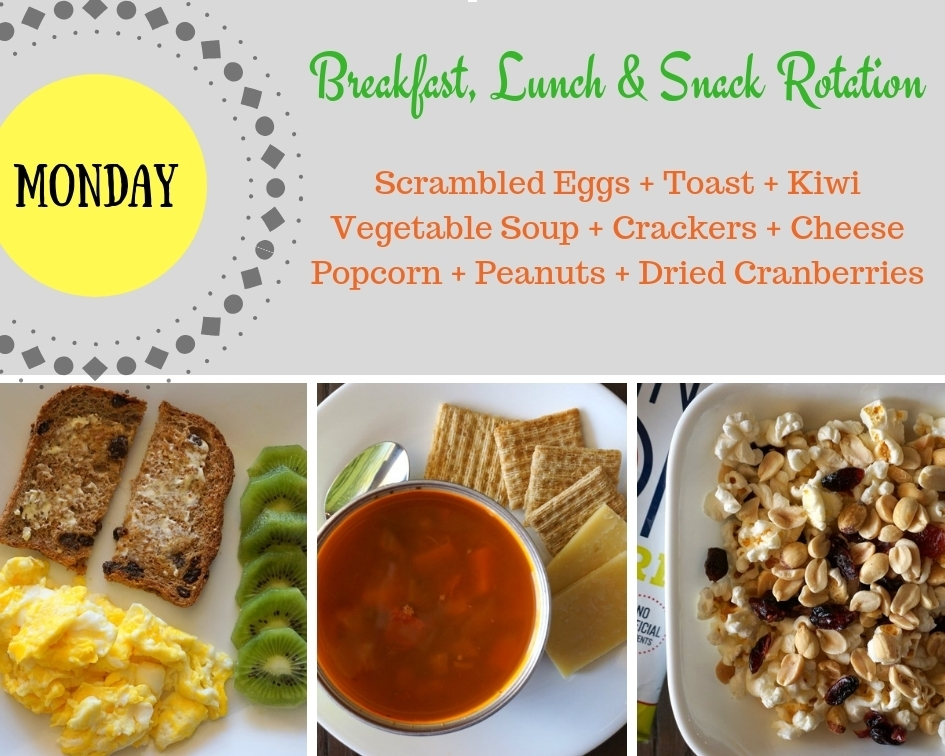 Breakfast, Lunch & Snack Rotation Monday
