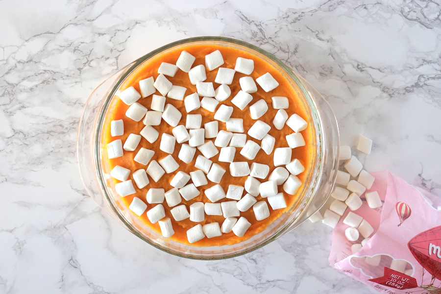 Sweet Potato Casserole with Marshmallows Prep