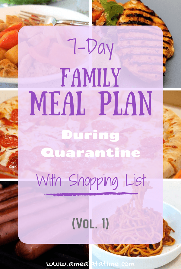 Simple 7 Day Family Meal Plan With Shopping List During Quarantine Vol 1
