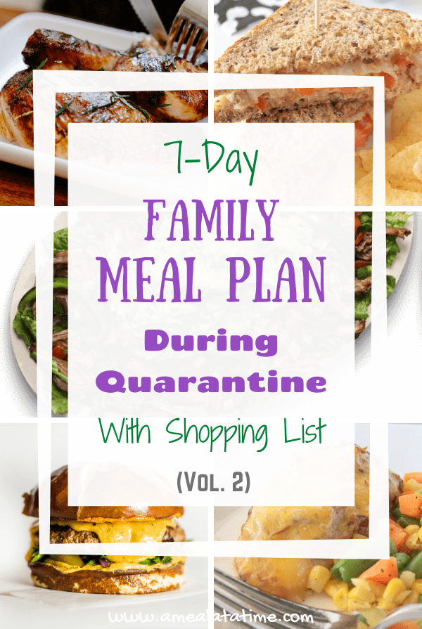 Simple 7-Day Family Meal Plan with Shopping List: During Quarantine, Vol. 2