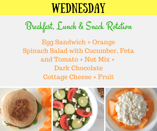 Breakfast, Lunch and Snack Rotation Wednesday